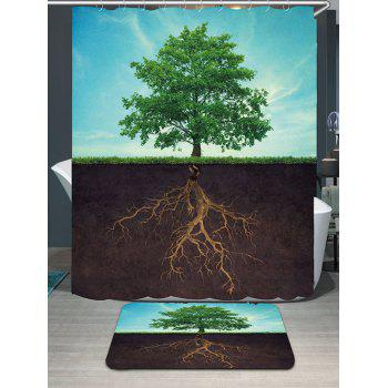 Life Tree Waterproof Shower Curtain and Area Rug - COLORMIX COLORMIX