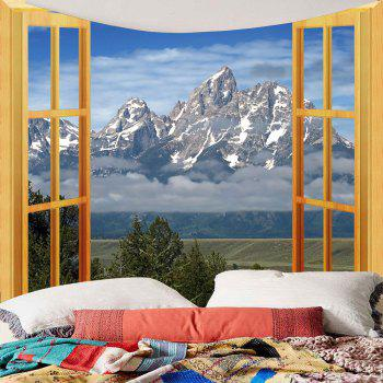 Waterproof 3D Faux Window Mountain Printed Wall Tapestry - COLORFUL COLORFUL