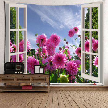 Waterproof 3D Faux Window Floral Printed Wall Tapestry - COLORFUL COLORFUL