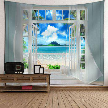 3D Faux Window Seascape Printed Wall Tapestry - BLUE BLUE