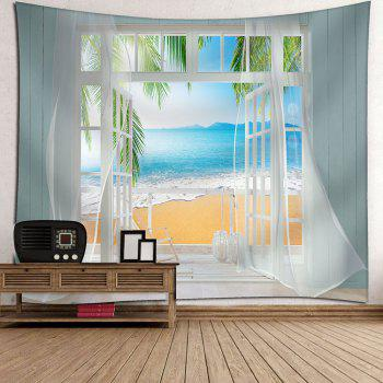 Waterproof Faux Window Beach Printed Wall Tapestry - COLORMIX W79 INCH * L71 INCH