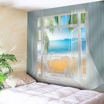 Waterproof Faux Window Beach Printed Wall Tapestry - COLORMIX COLORMIX