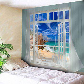 Waterproof 3D Window Screen Seascape Printed Wall Tapestry - BLUE BLUE