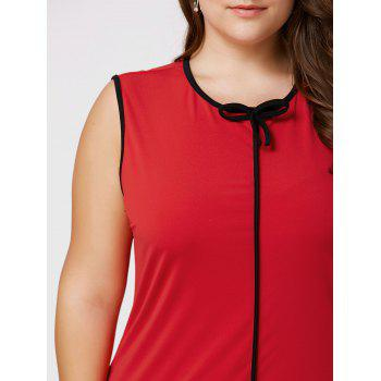 Robe taille taille volant à manches longues taille Bowknot - Rouge 3XL
