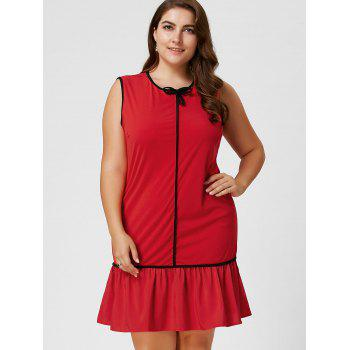 Robe taille taille volant à manches longues taille Bowknot - Rouge 4XL