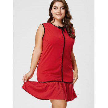 Robe taille taille volant à manches longues taille Bowknot - Rouge 5XL