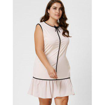 Robe taille taille volant à manches longues taille Bowknot - Abricot Clair 6XL