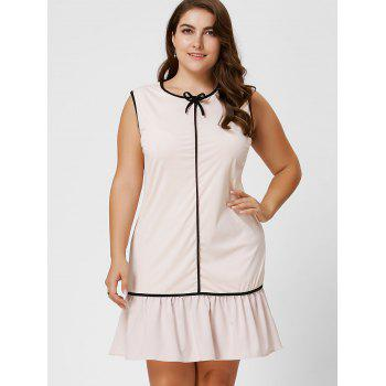 Robe taille taille volant à manches longues taille Bowknot - Abricot Clair 5XL