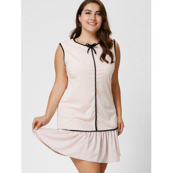 Robe taille taille volant à manches longues taille Bowknot - Abricot Clair 2XL