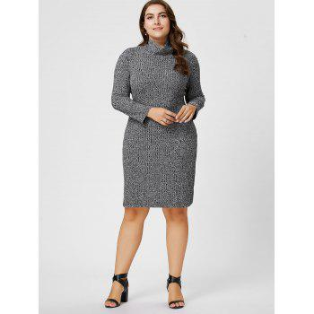 Plus Size Ribbed Sheath Turtleneck Sweater Dress - 6XL 6XL
