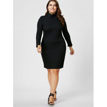 Plus Size Ribbed Sheath Turtleneck Sweater Dress - 3XL 3XL