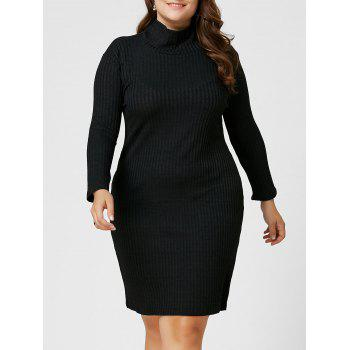 Plus Size Ribbed Sheath Turtleneck Sweater Dress - BLACK 3XL