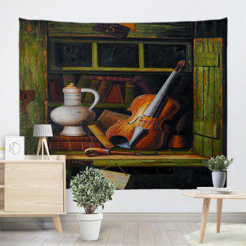 Vintage Shelf Guitar Fabric Wall Tapestry - ARMY GREEN ARMY GREEN