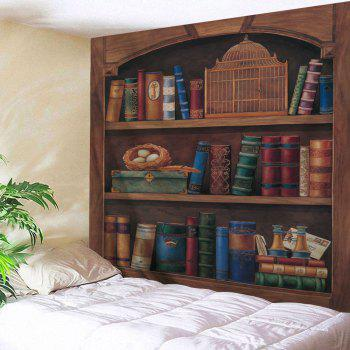 Wall Hanging Wooden Bookshelf Vintage Tapestry - BROWN W91 INCH * L71 INCH