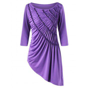 Ruched Asymmetric Tunic Top - PURPLE L