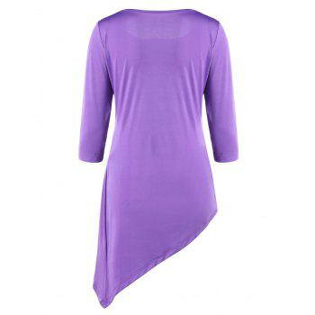 Ruched Asymmetric Tunic Top - L L