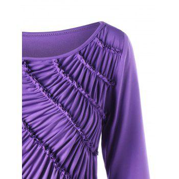 Ruched Asymmetric Tunic Top - PURPLE PURPLE