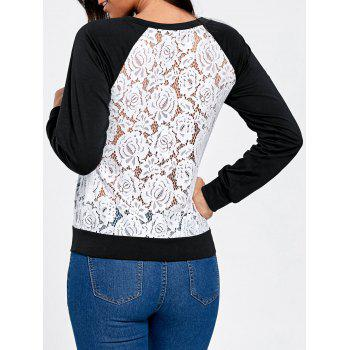 Raglan Sleeve Floral Lace Trim Sweatshirt - BLACK + WHITE M