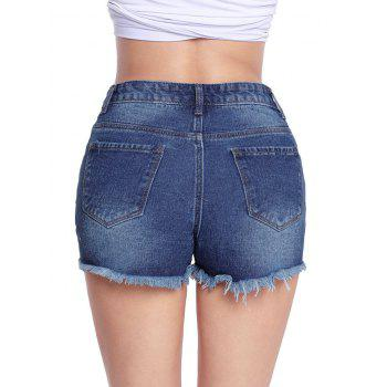 Cut Off Distressed Jean Shorts - BLUE BLUE