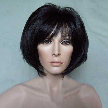 Short Inclined Bang Glossy Straight Bob Synthetic Wig