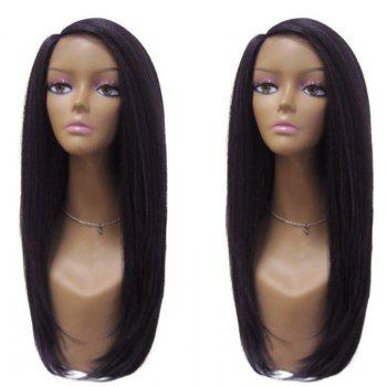 Long Side Parting Silky Straight Synthetic Wig - BLACK BLACK