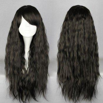 Long Inclined Bang Fluffy Natural Wave Synthetic Wig - BLACK BLACK