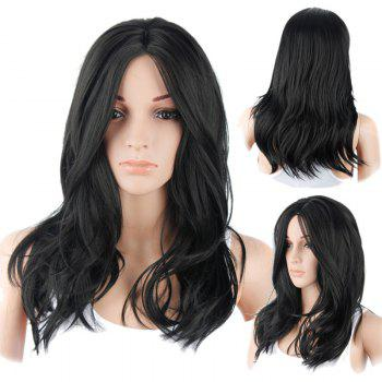 Long Layered Middle Part Natural Straight Synthetic Wig - BLACK BLACK