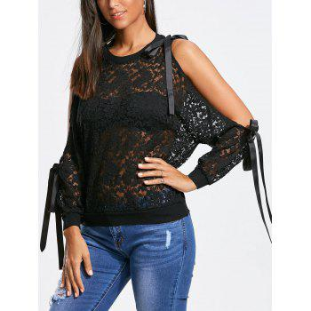 Bowknot Ribbons Split Cuff Sleeves Lace Blouse - BLACK BLACK