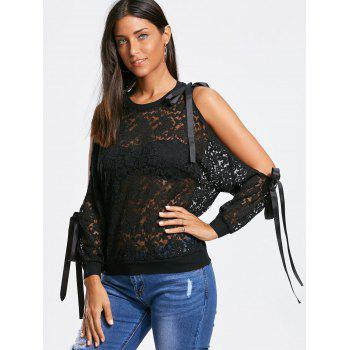 Bowknot Ribbons Split Cuff Sleeves Blouse en dentelle - Noir M