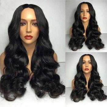 Middle Part Big Loose Wave Long Synthetic Wig - BLACK BLACK