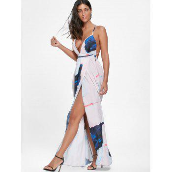Robe longue imprimée à haute couture Backless - multicolorcolore 2XL