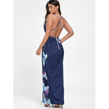 Plunge Floral Maxi Slit Backless Dress - Bleu Violet L