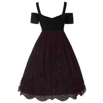 Vintage Lace Trim Fit and Flare Dress - S S