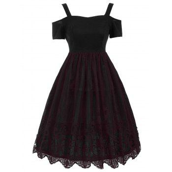 Vintage Lace Trim Fit and Flare Dress - DARK RED DARK RED