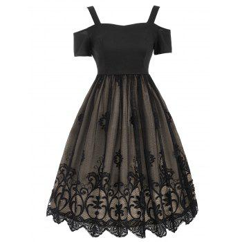 Vintage Lace Trim Fit and Flare Dress