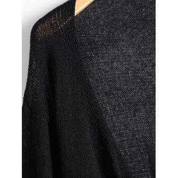 Drop Shoulder Collarless Cardigan - BLACK BLACK