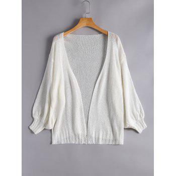 Drop Shoulder Collarless Cardigan - WHITE ONE SIZE