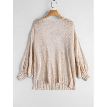 Drop Shoulder Collarless Cardigan - ONE SIZE ONE SIZE