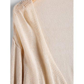 Drop Shoulder Collarless Cardigan - BEIGE BEIGE
