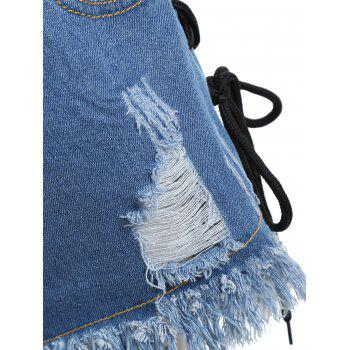 Frayed Hem Ripped Lace Up Denim Shorts - DENIM BLUE L