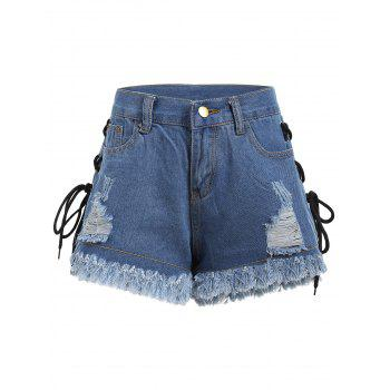 Frayed Hem Ripped Lace Up Denim Shorts - DENIM BLUE DENIM BLUE