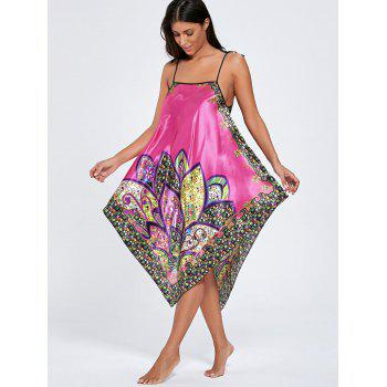 Asymmetric Floral Pajama Slip Dress - ONE SIZE ONE SIZE