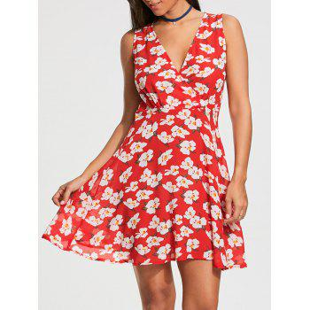 Sleeveless Floral Printed Skater Dress