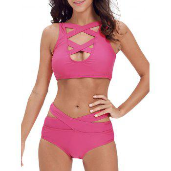 Ensemble de bikini à bande croisée Criss Cross - Rose Rouge M