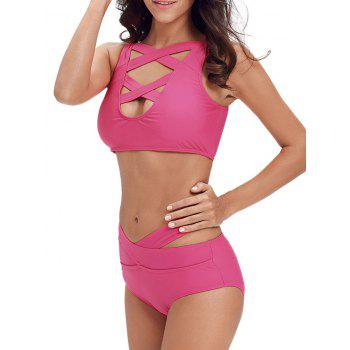 Ensemble de bikini à bande croisée Criss Cross - Rose Rouge XL