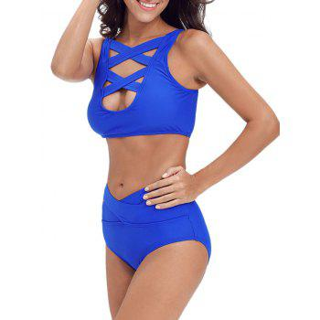 Criss Cross Cropped Bandage Bikini Set - ROYAL L