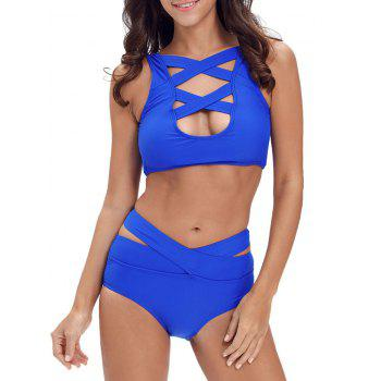 Criss Cross Cropped Bandage Bikini Set