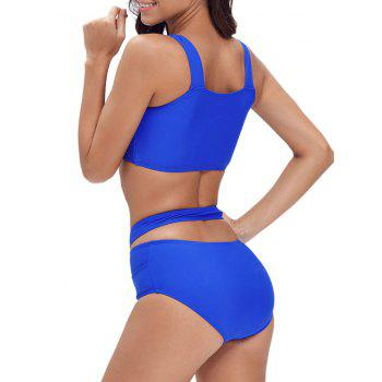 Criss Cross Cropped Bandage Bikini Set - ROYAL S