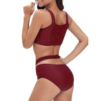 Criss Cross Cropped Bandage Bikini Set - WINE RED WINE RED