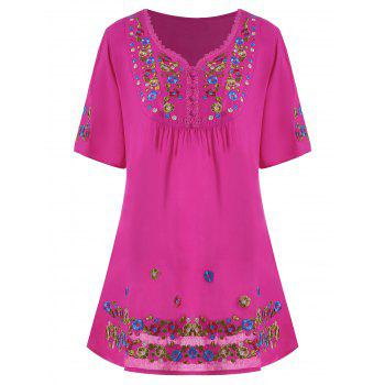Floral Embroidered Plus Size Tunic Top